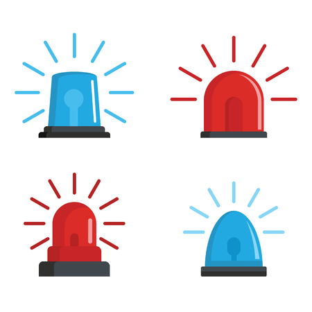 Flasher siren red and blue icons set, flat style