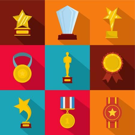 Glory award icons set, flat style
