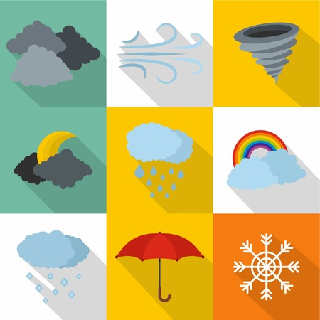 Atmospheric icons set. flat set of 9 atmospheric icons for web isolated on white background 版權商用圖片