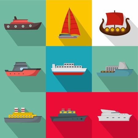 Seagoing vessel icons set. flat set of 9 seagoing vessel icons for web isolated on white background