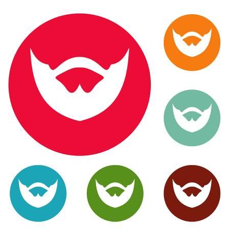 Clipped beard icons circle set isolated on white background