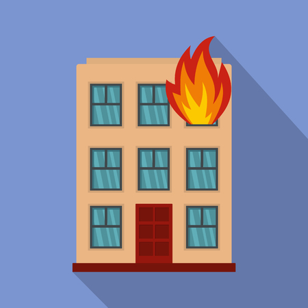 Burning house icon. Flat illustration of burning house icon for web