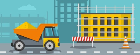 Lorry for construction banner horizontal. Flat illustration of lorry for construction banner for web