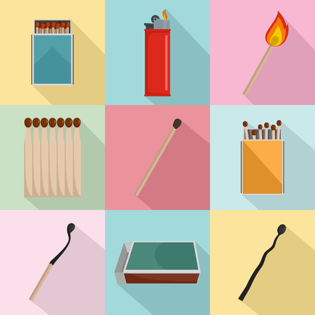 Safety match ignite burn icons set. Flat illustration of 9 safety match ignite burn icons for web