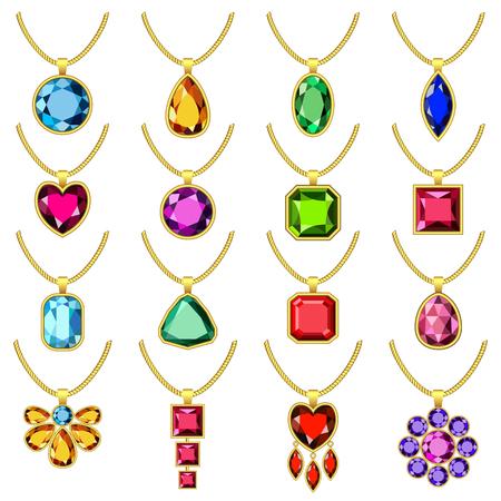 Necklace jewelry chain mockup set. Realistic illustration of 16 necklace jewelry chain mockups for web