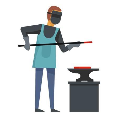 Blacksmith icon. Flat illustration of blacksmith icon for web