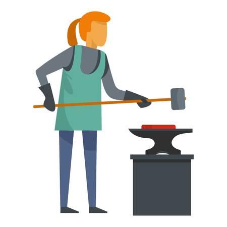 Woman blacksmith icon. Flat illustration of woman blacksmith icon for web
