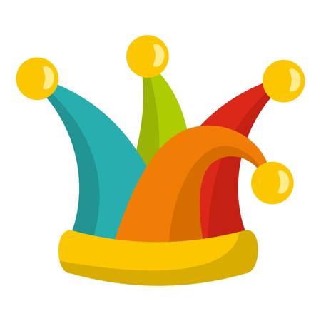 Jester cap icon. Flat illustration of jester cap icon for web Фото со стока
