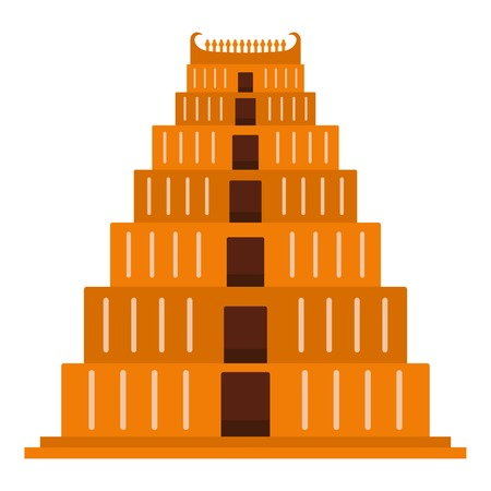 Mayan pyramid icon. Flat illustration of mayan pyramid icon for web