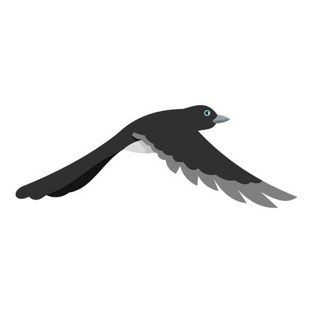 Flying away magpie icon. Flat illustration of flying away magpie icon for web Фото со стока