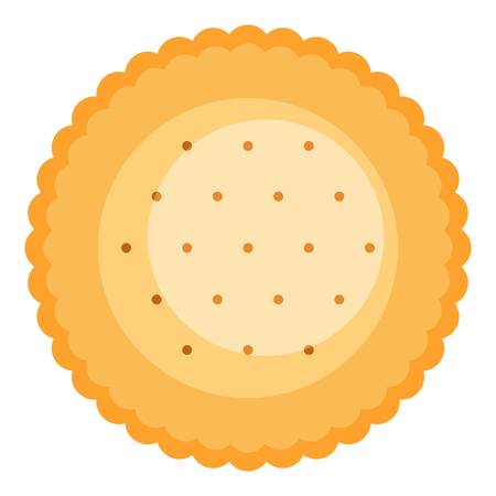 Round biscuit icon. Flat illustration of round biscuit icon for web