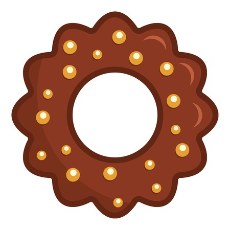 Chocolate biscuit icon. Flat illustration of chocolate biscuit icon for web Stock Photo
