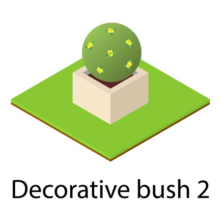 Round bush icon. Isometric illustration of round bush icon for web Фото со стока