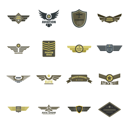 Airforce navy military logo icons set, flat style