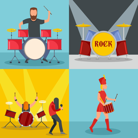 Drummer drum rock musician icons set, flat style