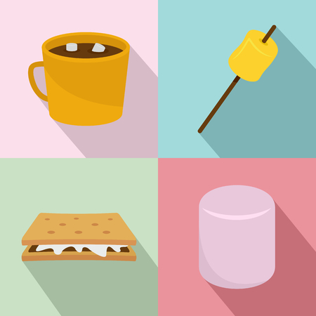 Marshmallow smores candy icons set flat style Stock Photo
