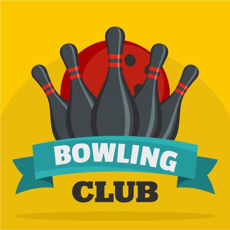 Bowling club icon, flat style