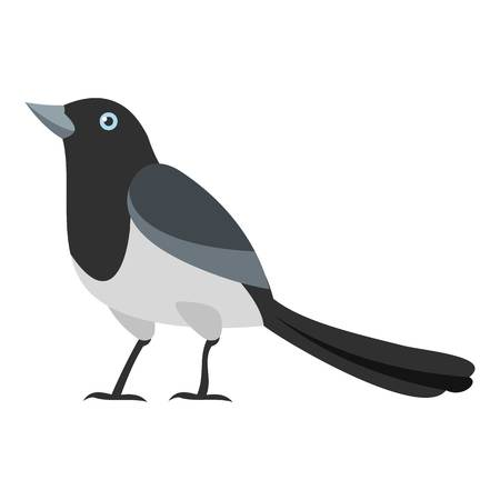 Clever magpie icon. Flat illustration of clever magpie icon for web Stock Photo