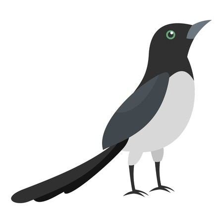 Magpie thief icon. Flat illustration of magpie thief icon for web