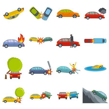Accident car crash case icons set. Flat illustration of 16 accident car crash case icons isolated on white Stock Photo