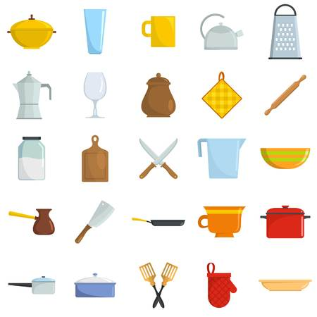 Kitchenware tools cook icons set isolated