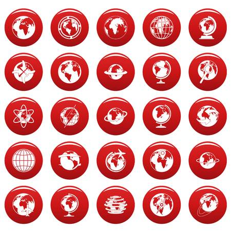 Globe Earth icons set vetor red