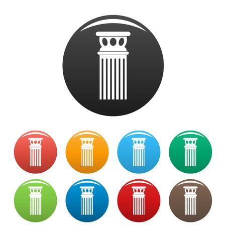 Ancient column icons set color
