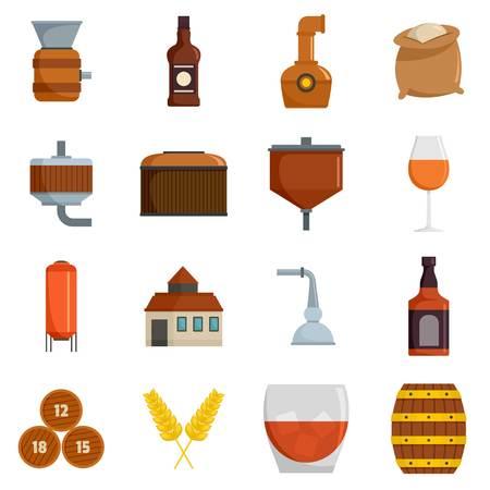 Whisky bottle glass icons set isolated Archivio Fotografico