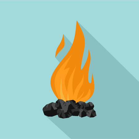Coal fire icon, flat style Stock Photo