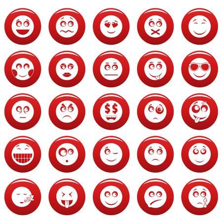 Smile icon set vetor red