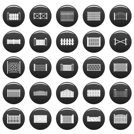 Fence icons set vetor black