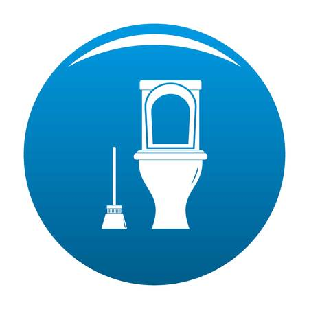 Cleaning toilet icon blue