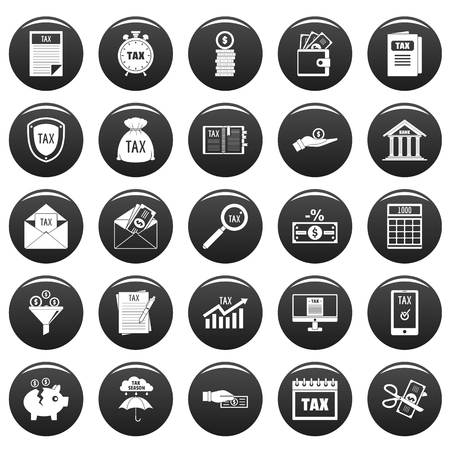 Taxes icons set vetor black