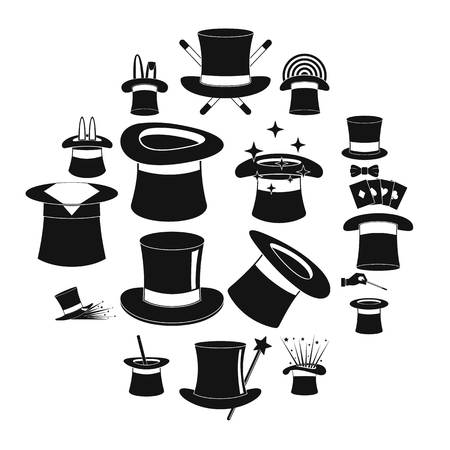 Magician hat sorcery icons set, simple style