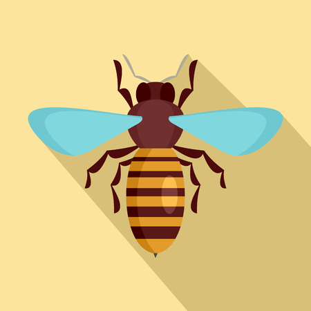 Bee insect icon. Flat illustration of bee insect icon for web design