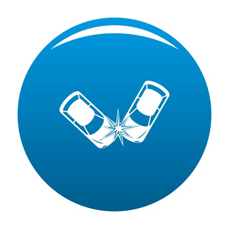 Hard collision icon. Simple illustration of hard collision icon for any design blue Stock Photo