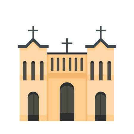 Protestant church icon. Flat illustration of protestant church icon for web