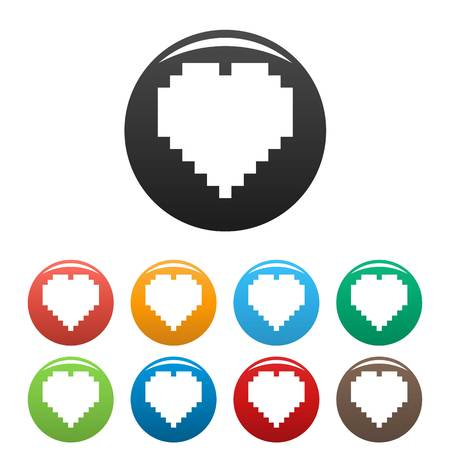 Pixel heart icon. Simple illustration ofpixel heart icons set color isolated on white