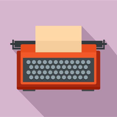 Red typewriter icon. Flat illustration of red typewriter icon for web design