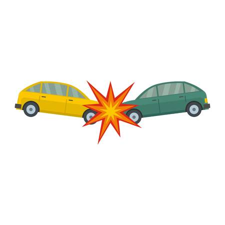 Head collision icon. Flat illustration of head collision icon for web