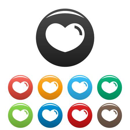 Loving heart icon. Simple illustration of loving heart icons set color isolated on white Stock Photo