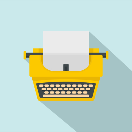 Old fashion typewriter icon. Flat illustration of old fashion typewriter icon for web design