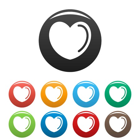 Poisoned heart icon. Simple illustration of poisoned heart icons set color isolated on white