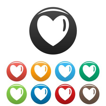 Warm human heart icon. Simple illustration of warm human heart icons set color isolated on white