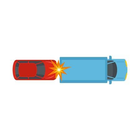 Car injury icon. Flat illustration of car injury icon for web