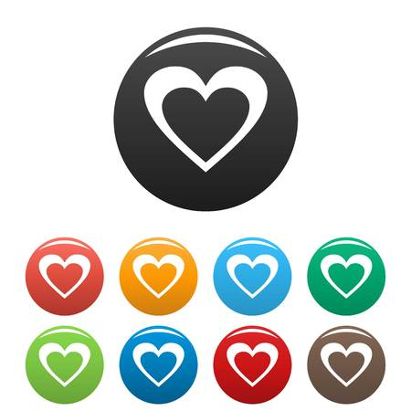 Huge heart icon. Simple illustration of huge heart icons set color isolated on white 스톡 콘텐츠