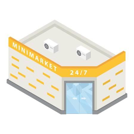 Icono de edificio de Minimarket. Isométrica del icono de edificio de minimercado para diseño web aislado sobre fondo blanco. Foto de archivo