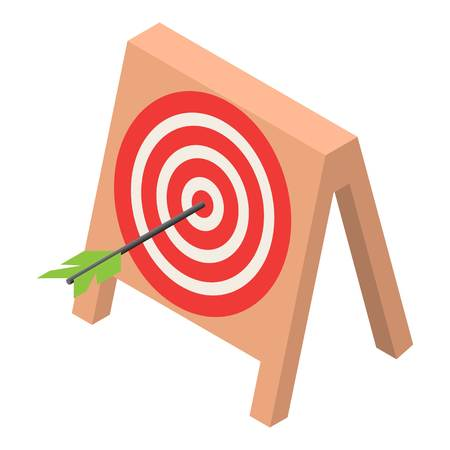 Wood target icon. Isometric of wood target icon for web design isolated on white background