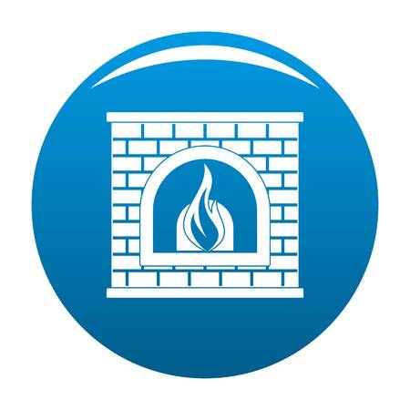 Retro fireplace icon blue Stock Photo