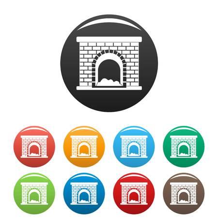 Brick fireplace icons set color Stock Photo - 106021901
